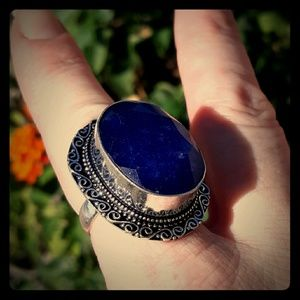 New Blue Sapphire Silver Statement Ring .Size 8.50
